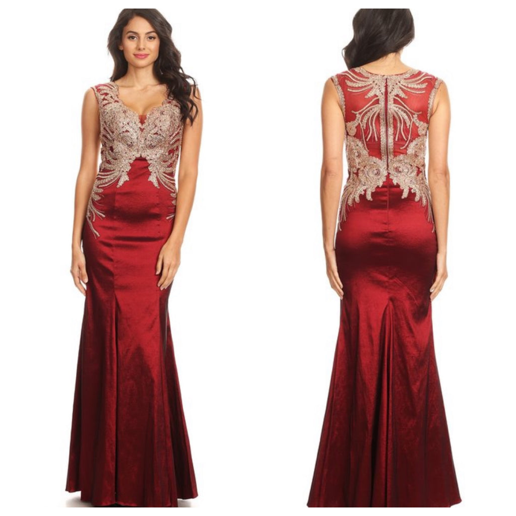 Gold/Burgundy Sexy Gown