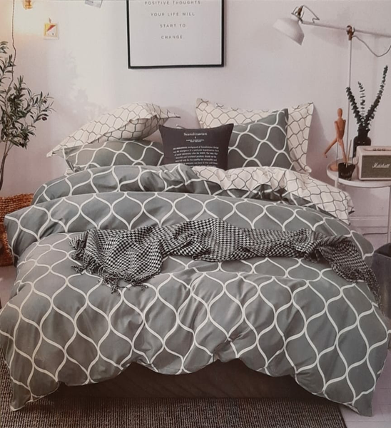 Grey Printed Cotton Queen size Bed sheet with Blanket and 2 Pillow Case