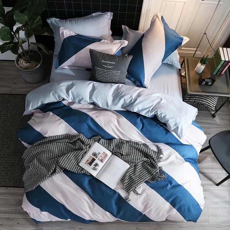 Blue white striped Cotton Bed Sheet with Duvet Cover and 4 Pillow Case - Liquidation Cart