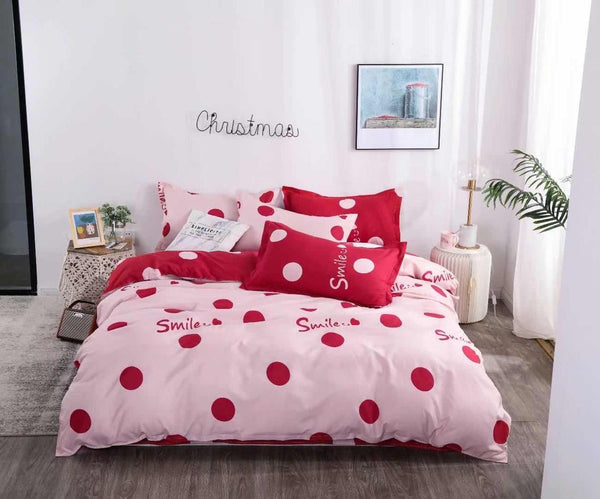 Pink red dotted cotton king size bed sheet with Duvet Cover and 4 Pillow Case - Liquidation Cart