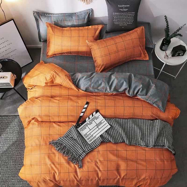 Orange gray check king size cotton bed sheet with Duvet Cover and 4 Pillow Case - Liquidation Cart