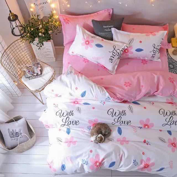 Pink white king size cotton bed sheet with Duvet Cover and 4 Pillow Case - Liquidation Cart