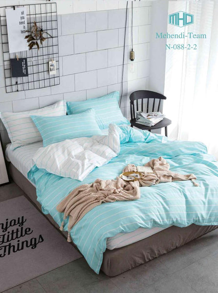 Turquoise light white striped cotton bedsheet cover set - Liquidation Cart