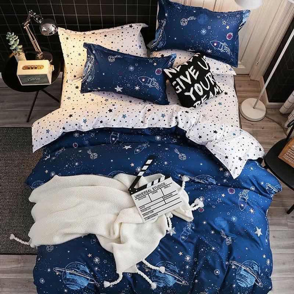 Blue and White star Cotton king size  bed sheet with Duvet Cover and 4 Pillow Case - Liquidation Cart