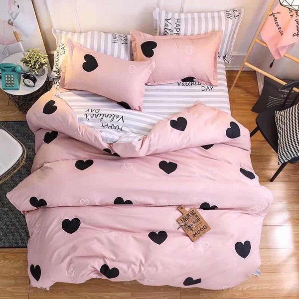 Black heart Cotton king size bed sheet with Duvet Cover and 4 Pillow Case - Liquidation Cart