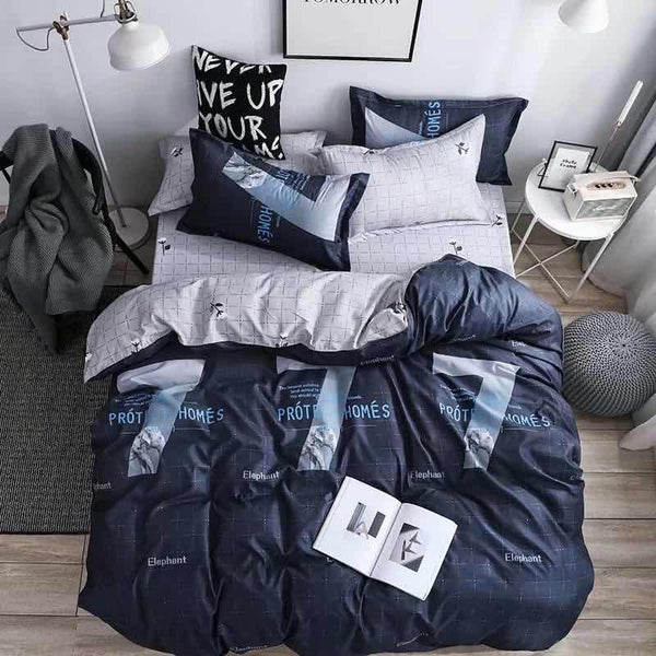 Navy blue and white Cotton king size bed sheet with Duvet Cover and 4 Pillow Case - Liquidation Cart