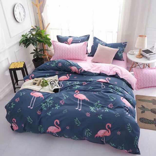 Blue and pink swan cotton king size bedsheet  6 pcs - Liquidation Cart