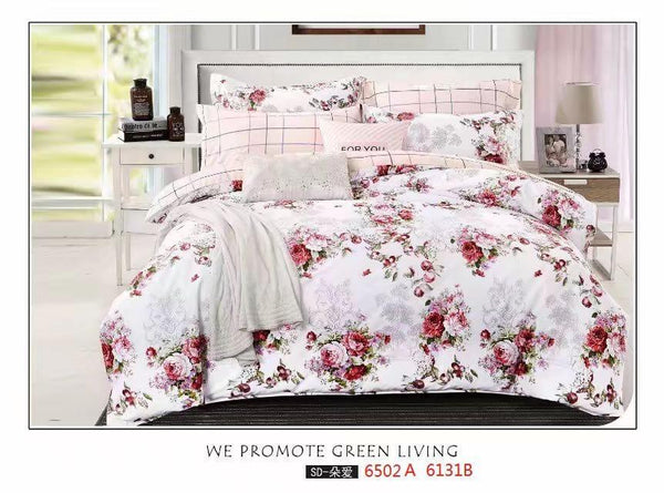 Pink flowers cotton king size bed sheet with Duvet Cover and 4 Pillow Case - Liquidation Cart