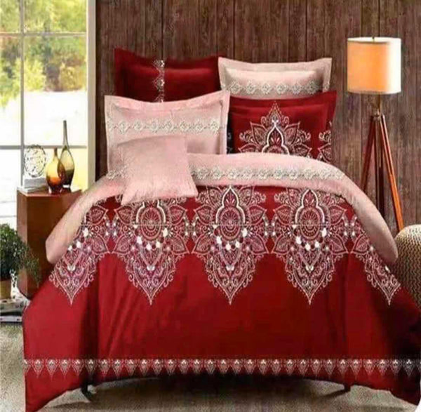 Red and peach cotton king size bedsheet 6 pcs