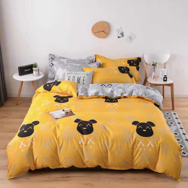 Yellow with black teddy cotton king size bed sheet with Duvet Cover and 4 Pillow Case - Liquidation Cart