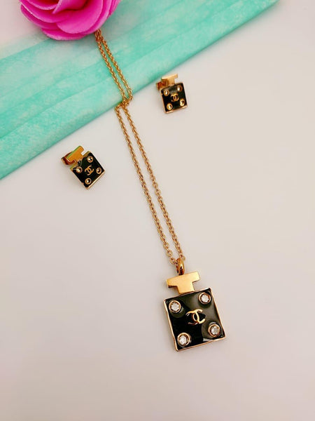 Chanel black and gold cc Pendant Necklace with Tops/earrings - Liquidation Cart