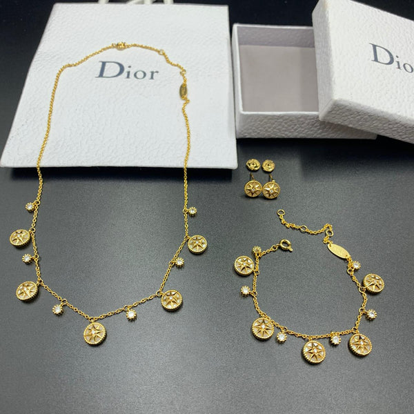 Dior Designer Jewelry set Necklace, Bracelet and earrings set, Golden