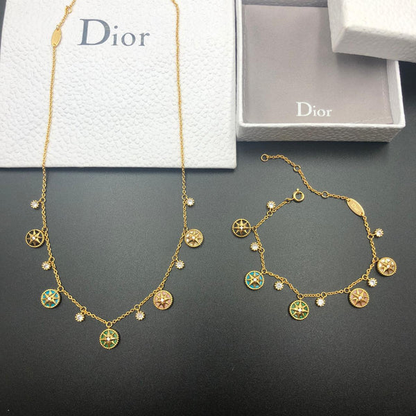 Dior Designer Jewelry set Necklace, Bracelet and earrings set