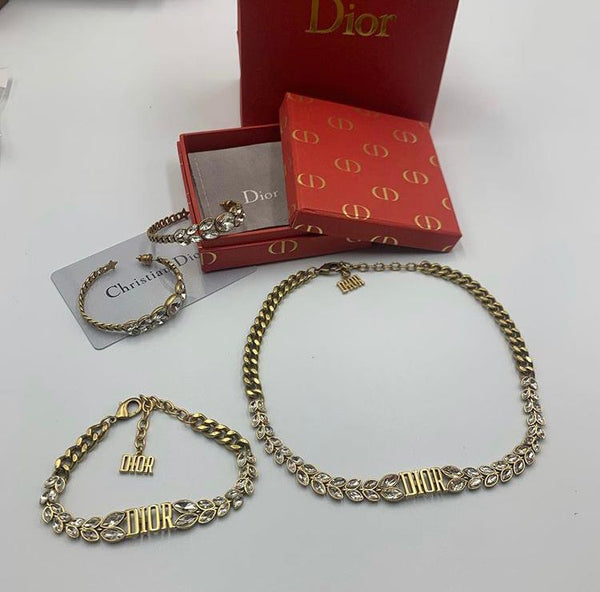 Christian Dior Jewery Set Necklace Bracelet and earrings
