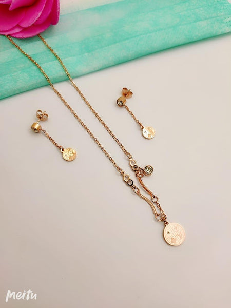 Lisa Golden Coin Pendant Necklace with Ear Rings - Liquidation Cart