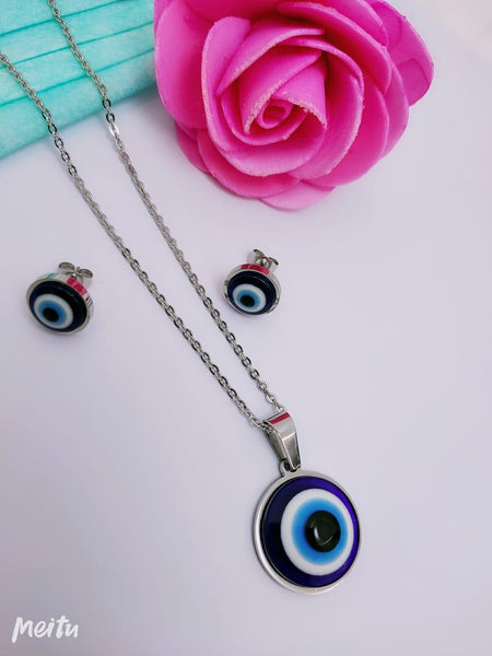 Evil eye pendant Necklace with earrings - Liquidation Cart