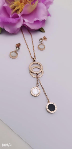 Bvlgari Golden black and white Pendant Necklace with earrings - Liquidation Cart