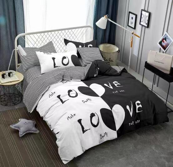 Make Love Cotton king size Bed sheet with Duvet Cover and 4 Pillow Case