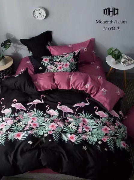 Flamingos Cotton king size Bed sheet with Duvet Cover and 4 Pillow Case