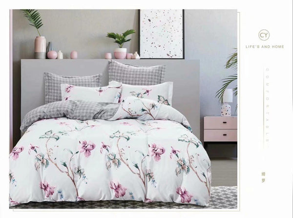 Pink flowers cotton king size bed sheet with Duvet Cover and 4 Pillow Case