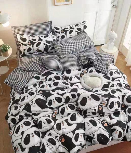 Panda Print Cotton king size Bed sheet with Duvet Cover and 4 Pillow Case