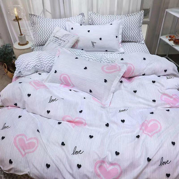 Love Cotton king size Bed sheet with Duvet Cover and 4 Pillow Case