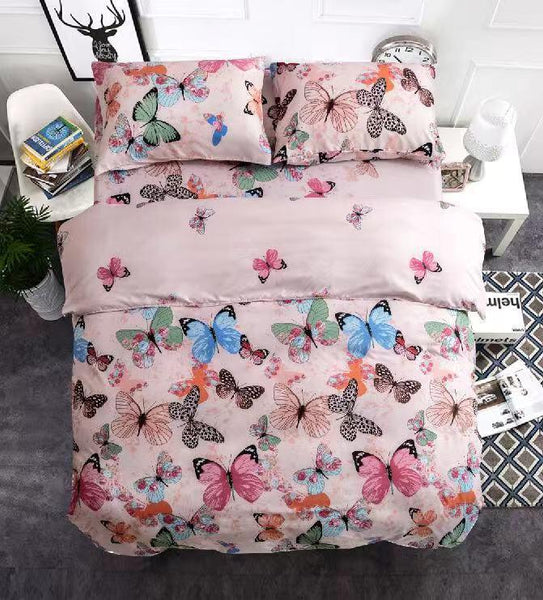 Butterflies Print Cotton king size Bed sheet with Duvet Cover and 4 Pillow Case