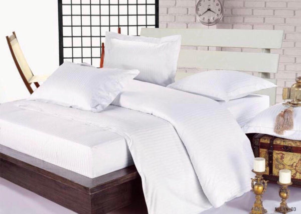 White Cotton king size Bed sheet with Duvet Cover and 4 Pillow Case