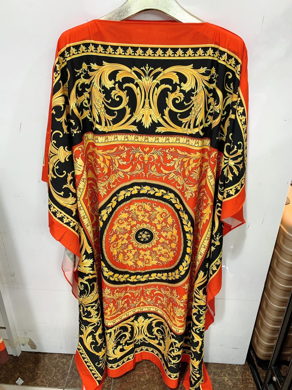 Orange/Black/Yellow Colorful Printed Silk Kaftan free size