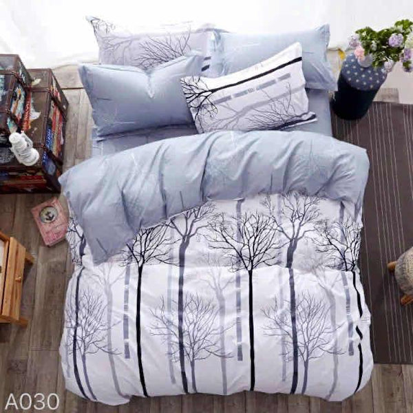 Forest Print Cotton king size Bed sheet with Duvet Cover and 4 Pillow Case