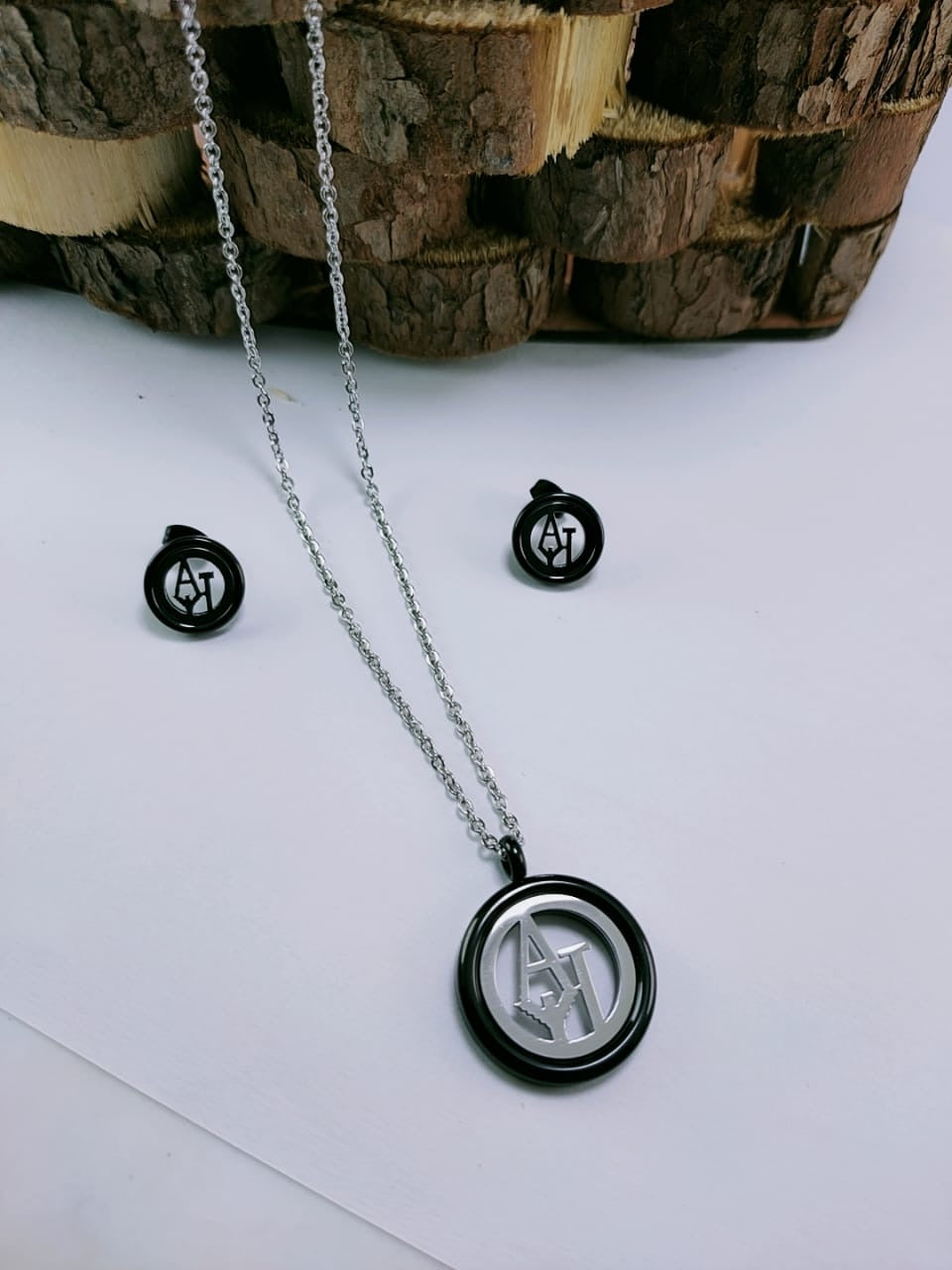Armani AJ logo Pendant Necklace with Tops/Earrings, Black/Silver
