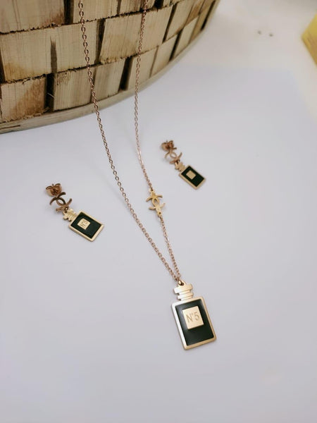 Chanel Bottle Shaped Pendant Necklace with Earrings