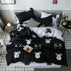 XX Air Print Cotton king size Bed sheet with Duvet Cover and 4 Pillow Case