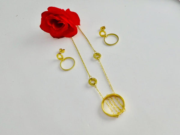 Round Pendant Chain Necklace with Tops/Earrings