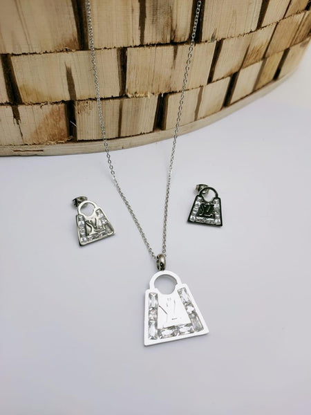 LV Lock Shaped Designer pendant with tops/earrings, Silver