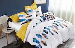 Feathers Cotton king size Bed sheet with Duvet Cover and 4 Pillow Case