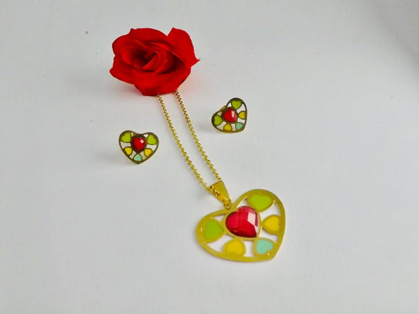Colorful Heart Pendant Necklace with Tops/Earrings