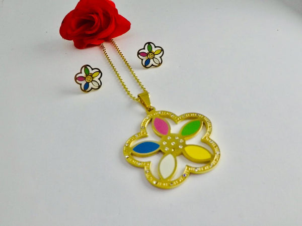 Colorful flower Pendant Necklace with Tops/Earrings