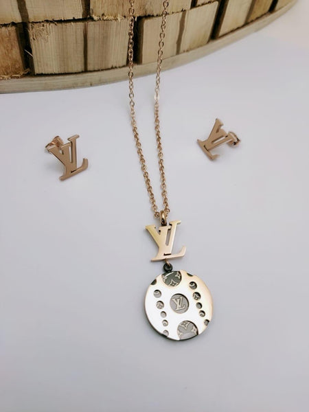 LV Logo Designer pendant with tops/earrings, Rose Gold