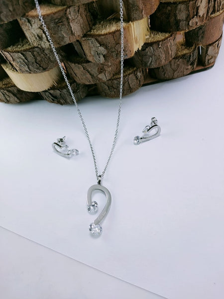 Diamond Pendant Necklace with Tops/Earrings, Silver