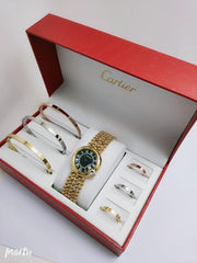 Cartier Watch, Bracelets and Rings Gift Set High Quality