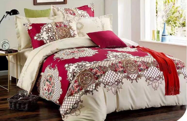Red and white Cotton king size Bed sheet with Duvet Cover and 4 Pillow Case