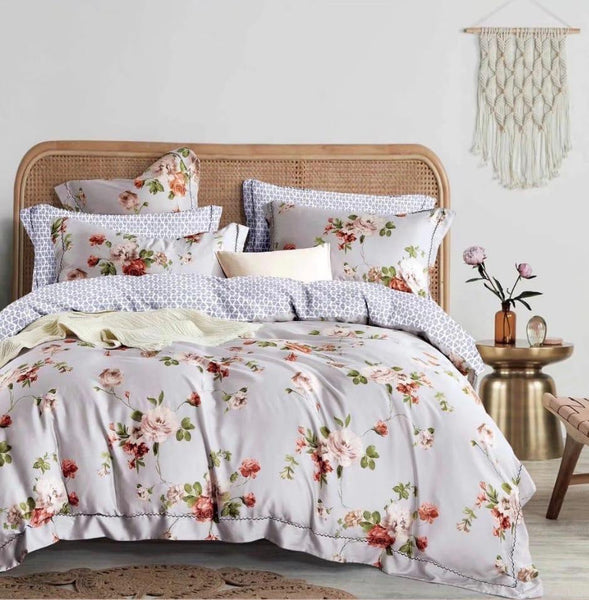 Light grey with flowers Cotton king size bed sheet with Duvet Cover and 4 Pillow Case