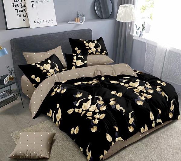 Black Leafy Cotton king size Bed sheet with Duvet Cover and 4 Pillow Case
