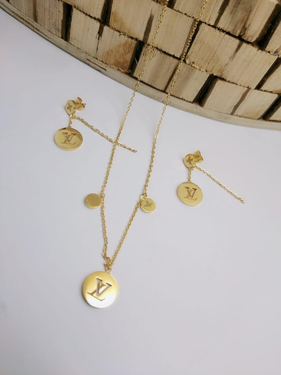 LV Round Logo Designer pendant with tops/earrings