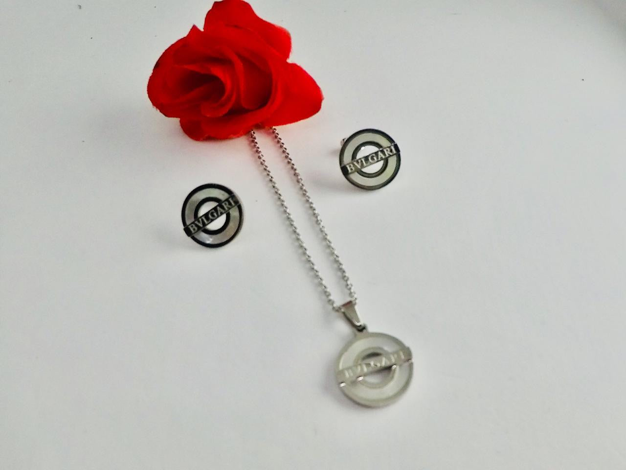 Bvlgari Logo Round Pendant Necklace with earrings