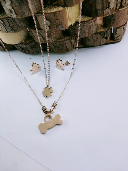 Luck Sign Pendant Necklace with Tops/Earrings