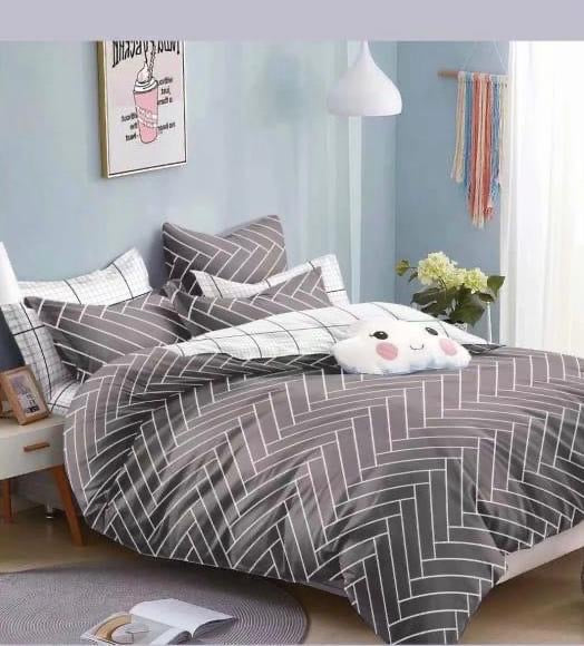 Grey and white Cotton king size bed sheet with Duvet Cover and 4 Pillow Case