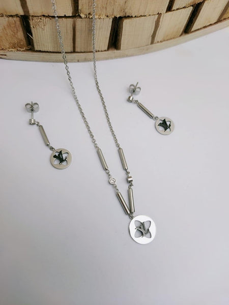 LV Designer Round pendant Necklace with tops/earrings Silver