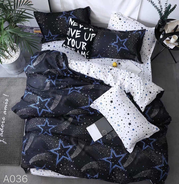 Stars Print Cotton king size Bed sheet with Duvet Cover and 4 Pillow Case